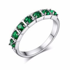 Luxury Anel Feminino Silver Bijoux Fashion Wedding Ring Set AAA+ Round Cut Green CZ Crystal Jewelry For Women As Chirstmas Gift
