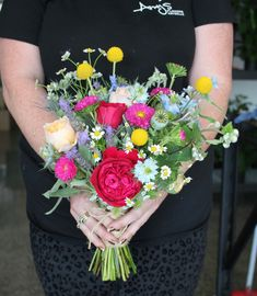 Bright wild flower brides bouquet - Rustic wedding flowers made by Amy's Flowers