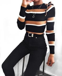 9b35059554 Super cute outfit    Stripped long sleeve shirt top with black high waisted  skinny jeans