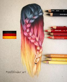 Hair drawing inspired by the national colors of Germany! Can't wait to see my family very soon again after 2 long years!❤️✍ Prismacolor pencils on toned tan Strathmore paper! Hairstyle inspired by See previous post for the time laps video and whi Amazing Drawings, Beautiful Drawings, Amazing Art, Awesome, Art Drawings Sketches, Cute Drawings, Pencil Drawings, Hair Drawings, Prismacolor Drawings
