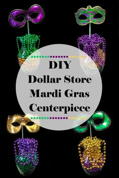 We want to share with you a quick and easy decoration idea for a DIY Dollar Store Mardi Gras Centerpiece that's perfect for your Fat Tuesday celebration. Mardi Gras Party Theme, Mardi Gras Food, Mardi Gras Beads, Carnival Centerpieces, Mardi Gras Decorations, Diy Masquerade Decorations, Quinceanera Decorations, Casino Decorations, Karneval Outfits