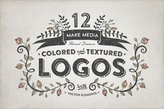 Check out Hand Drawn Colored & Textured Logos by MakeMediaCo. on Creative Market
