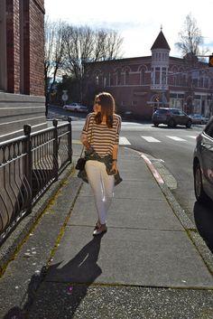 Stripes, white pants, denim jacket | Fishbowl Fashion