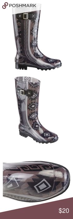 Tribal print rain boots PVC uppers feature an allover tribal pattern  Waterproof construction keeps your feet dry  PVC outsoles provide traction  EVA insoles cushion your feet  Textile linings  Pull-on style Shoes Winter & Rain Boots