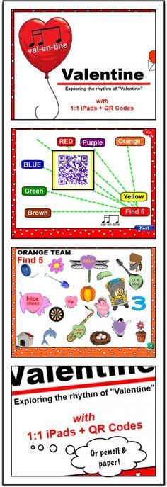 A Valentine rhythm Lesson using QR codes, iPads, & SMARTBoard. QR codes divide students into groups, deliver group-specific content to their iPads, and provide interactive assessment. Free SMARTBoard Download and Video included. cphmusic.net