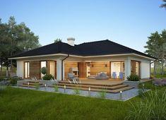 Projekt domu Oceania II 126,50 m² - koszt budowy - EXTRADOM Modern Bungalow House, Bungalow House Plans, Modern Bungalow Exterior, Model House Plan, My House Plans, Small House Design, Modern House Design, Midcentury Modern House Plans, Tropical House Design