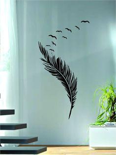 Feathers with Birds Design Animal Decal Sticker Wall Vinyl Decor Art - white