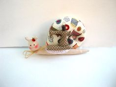 Fabric Snail Tilda doll  with sewing machine - birthday gift , shabby chic,handmade, ornament, Home Decor, patchwork, Baby shower