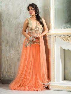 Peach Net Wedding Gown (Free Size)