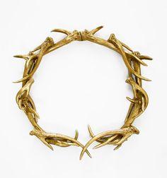 Christmas Wreath, Gold Antlers, Deer Head, Antler Wreath, Antler Decor,Hodi Home Decor, Christmas Decor, Antler Wall Decor, on Etsy, $115.00