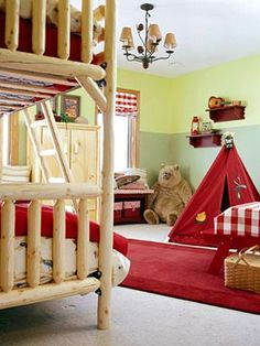 A Camp Theme Room For Two A little campy and a whole lot of fun, this bedroom inspires creativity and adventures at every turn. Chunky pine furniture adds to the camp theme. The color scheme pairs bold red with two tones of outdoorsy green. Camping Room, Camping Theme, Indoor Camping, Camping Gear, Bedroom Themes, Kids Bedroom, Bedroom Decor, Kids Rooms, Bedroom Ideas