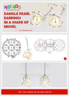 dangle pearl earrings-in a shape of mussel