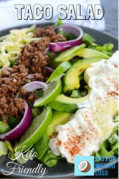 Keto Taco Salad Keto Taco Salad is really simple. Its the ingredients you would usually put inside a taco, but just as a salad on your plate! Just think, no more mess when the taco crunches and breaks! Sour cream is your friend in this recipe. It