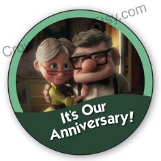Carl and Ellie Up Anniversary Disney Inspired Celebration Button by CrowleyCastle on Etsy https://www.etsy.com/listing/242572822/carl-and-ellie-up-anniversary-disney