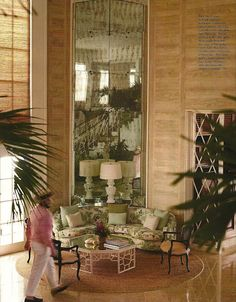Pickled Cypress walls and Peter Dunham fabric used in the main house at Lyford Cay
