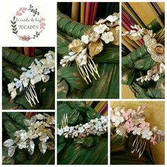 Tocados para novia realizados en porcelana fría de forma artesanal con hojas y flores. Totalmente personalizados