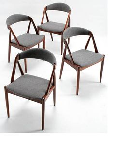 4 dining chairs by Kai Kristiansen             dining chairs」 Kai Kristiansen / Denmark Year: / walnut, fabric