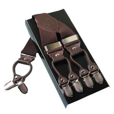 Leather alloy 6 clips braces men Adjustable men suspenders western style trousers braces strap