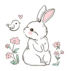 Kitten Drawing, Rabbit Drawing, Easter Drawings, Cute Drawings, Cute Pictures To Draw, Bunny Sketches, Cartoon Mignon, Lapin Art, Cute Bunny Cartoon