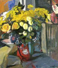 Τέτσης Παναγιώτης-Flowers Mediterranean Art, Greece Painting, 10 Picture, Greek Art, Art Forms, Fresco, Flower Art, Modern Art, Print Patterns