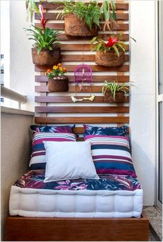 Contemporary Small Patio Ideas With Beautiful Leaf Pattern Mattress Includes Cute Pillows Under Growing Garden Flower Attached On Wooden Wall Decor, Lovely Indoor Vertical Garden Design Ideas: Furniture, Interior