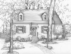 the 168 best line drawings of houses images on pinterest house