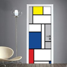 Mondrian – Riproduzione Opera d'Arte – İtalia Mondrian Kunst, Piet Mondrian, Mondrian Dress, Deco Design, Wall Design, House Design, Art Room Doors, Diy Projects For Couples, Bedroom Door Design