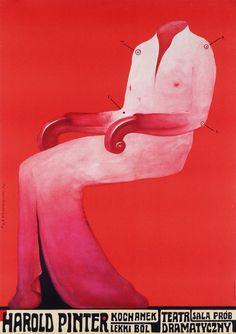 The Lover. A Slight Ache / Kochanek. Lekki ból. Theatre poster for 2 plays of Harold Pinter, designer: Franciszek Starowieyski, 1970