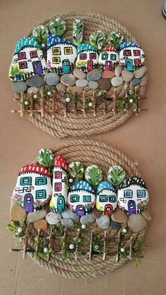 There are many things to do with painted pebbles. These colorful pebbles can make into various ornaments that will make the house more beautiful. Stone Crafts, Rock Crafts, Diy And Crafts, Crafts For Kids, Arts And Crafts, Pebble Painting, Pebble Art, Stone Painting, Diy Painting