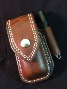 Custom Leather Sheath for WaveChargeSurge with extra pocket