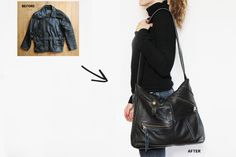 re-purpose a vintage leather jacket into a new handbag! This is awesome because vintage leather jackets are like $10.