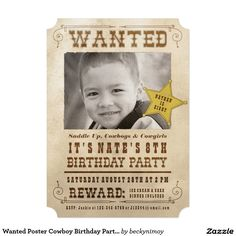 "Wanted Poster Cowboy Birthday Party Invitation 5"" X 7"" Invitation Card"