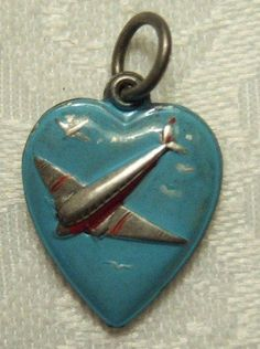Sterling Enameled Airplane Puffy Heart Charm