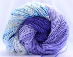 Hand dyed yarn, speckled yarn, Purple / Blue yarn, fingering weight, superwash merino / nylon yarn, sock yarn, variegated yarn by SMAKSuperFibers on Etsy https://www.etsy.com/listing/234232809/hand-dyed-yarn-speckled-yarn-purple-blue