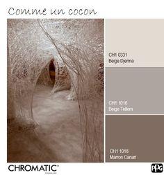Cette palette de #couleurs naturelles et simples s'accordent parfaitement pour créer un arrière-plan neutre mais ultra chic. Idéal pour une #ambiance feutrée dans un #salon ou une #chambre. www.chromaticstore.com