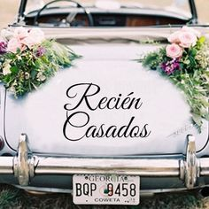 Get inspired by these ultra original wedding getaway car decor ideas and make the couple's exit ride one they will never forget! Wedding Car Decorations, Wedding Themes, Wedding Photos, Wedding Cars, Wedding Getaway Car, Bridal Car, Braided Hairstyles For Wedding, Holidays And Events, Special Day