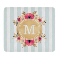 Mint Stripes Watercolor Flowers Faux Gold Monogram Cutting Board - monogram gifts unique custom diy personalize