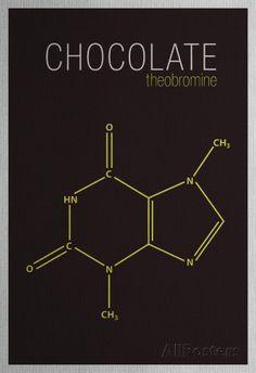 Chocolate (Theobromine) Molecule Prints at AllPosters.com 13 x 19