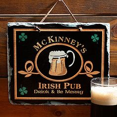 Create your own personal Irish Pub sign for your home bar - just in time for St. Patrick's Day! This cool design also can be personalized on a doormat and coasters!