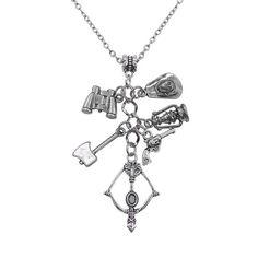 Steampunk Massive Long Necklace Men'S Chain Dead Walking Term Ax Arrow Light Silver Color Women Necklace Jewelry On The Neck Men Necklace, Pendant Necklace, Chains For Men, Fan Gear, Silver Color, Pendants, Gears, Arrow, Steampunk