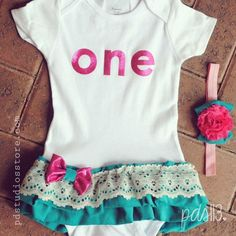 sweet nibblets!!!! So cute! Baby Girl First Birthday Outfit Pink and Teal by pdstudiosstore, $35.00
