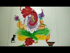 Ganesha Rangoli Design by Creative Hands Easy Rangoli Design Ganesh Chat. Ganesha Rangoli, Rangoli Designs With Dots, Durga Puja, Simple Rangoli, Indian Art, School Projects, Image Collection, Geometric Shapes, Stencils
