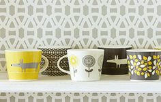 Scion mugs in charcoal + yellow - love this whole line of ceramics