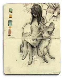 - A Sketch by Bryce Wymer (click the link for a gallery of inspiring art! Kunstjournal Inspiration, Sketchbook Inspiration, Art And Illustration, Arte Sketchbook, Moleskine Sketchbook, Moleskine Notebook, Artist Journal, Oeuvre D'art, Cat Art
