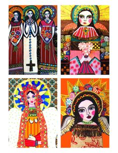 Mexican Folk Art Virgin of Guadalupe GIFT SET of 4 - 11x14 print posters SIGNED - Wedding Gifts. $80.00, via Etsy.