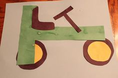 T is for tractor. This is a great letter, cutting and gluing activity.