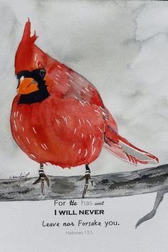 Watercolor Painting Of Cardinal With Bible Verse Original