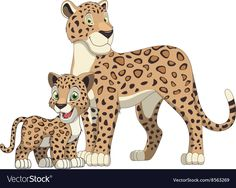 Leopard with cub Royalty Free Vector Image - VectorStock Animal Paintings, Animal Drawings, Cute Drawings, Leopard Cub, Baby Leopard, Animals For Kids, Cute Animals, Zebra Cartoon, Dream Catcher Vector