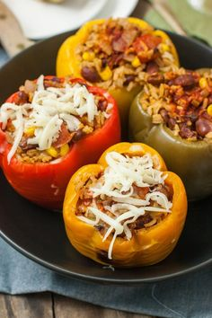Slow Cooker Stuffed Bell Peppers | mycaliforniaroots.com | #vegan #glutenfree #recipe