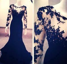 Siyah dantel abiye modelleri